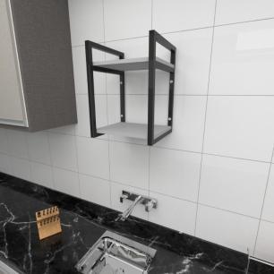 Prateleira industrial para cozinha aço cor preto prateleiras 30 cm cor cinza modelo ind24cc