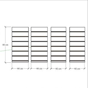 Kit 4 Painel canaletado para pilar amadeirado escuro 2 peças 44(L)x90(A)cm + 2 peças 40(L)x90(A)cm