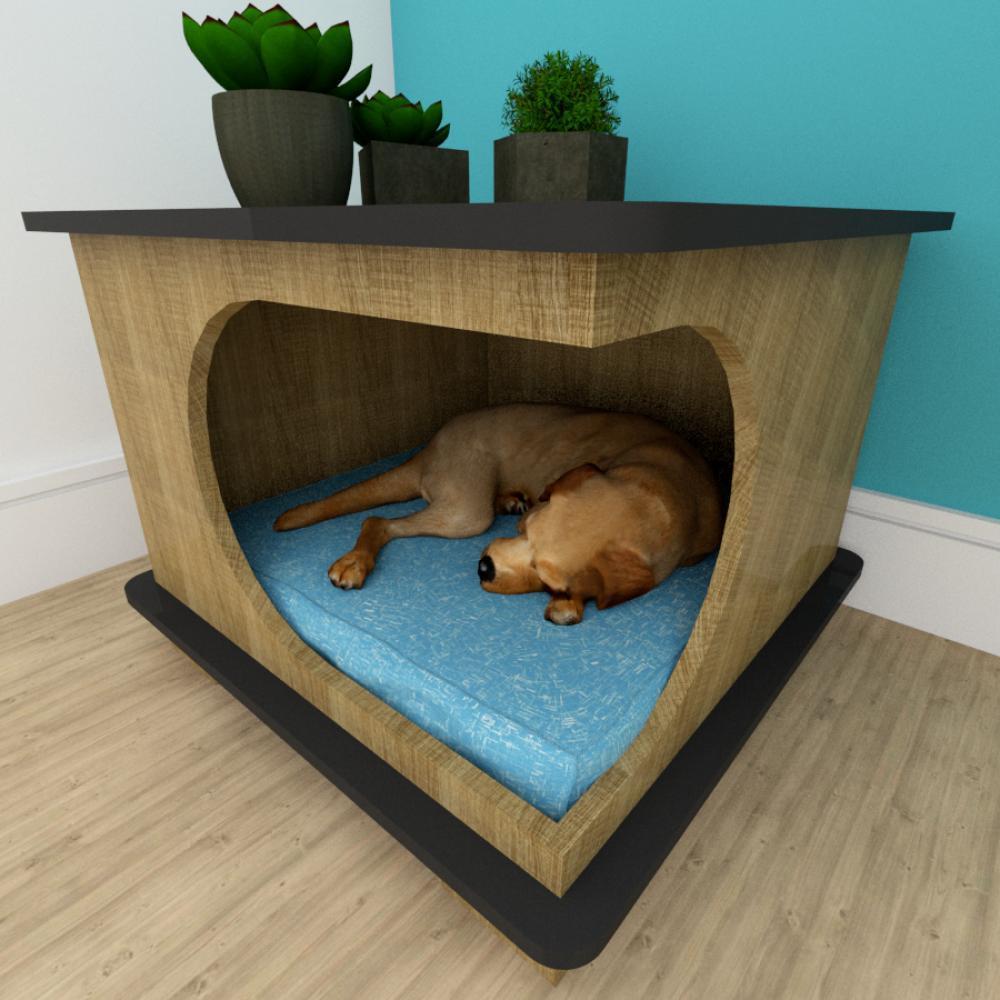 Mesa de cabeceira caminha cão gaveta mdf Amadeirado claro preto