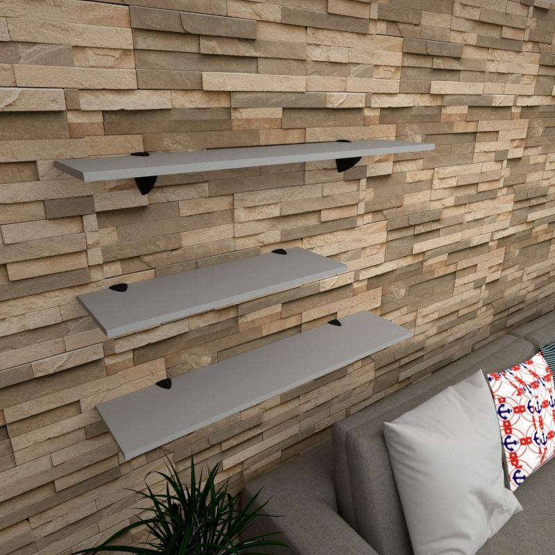 Kit 3 prateleiras sala em MDF suporte tucano cinza 1 60x20cm 2 90x20cm modelo pratslc16