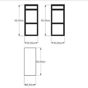 Aparador industrial aço cor preto mdf 30 cm cor amadeirado claro modelo ind15acapr