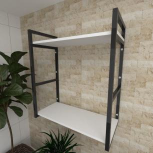 Prateleira industrial para Sala aço cor preto prateleiras 30 cm cor branca modelo ind10bsl