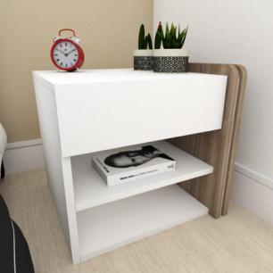 Mesa de cabeceira moderna amadeirado escuro com branco