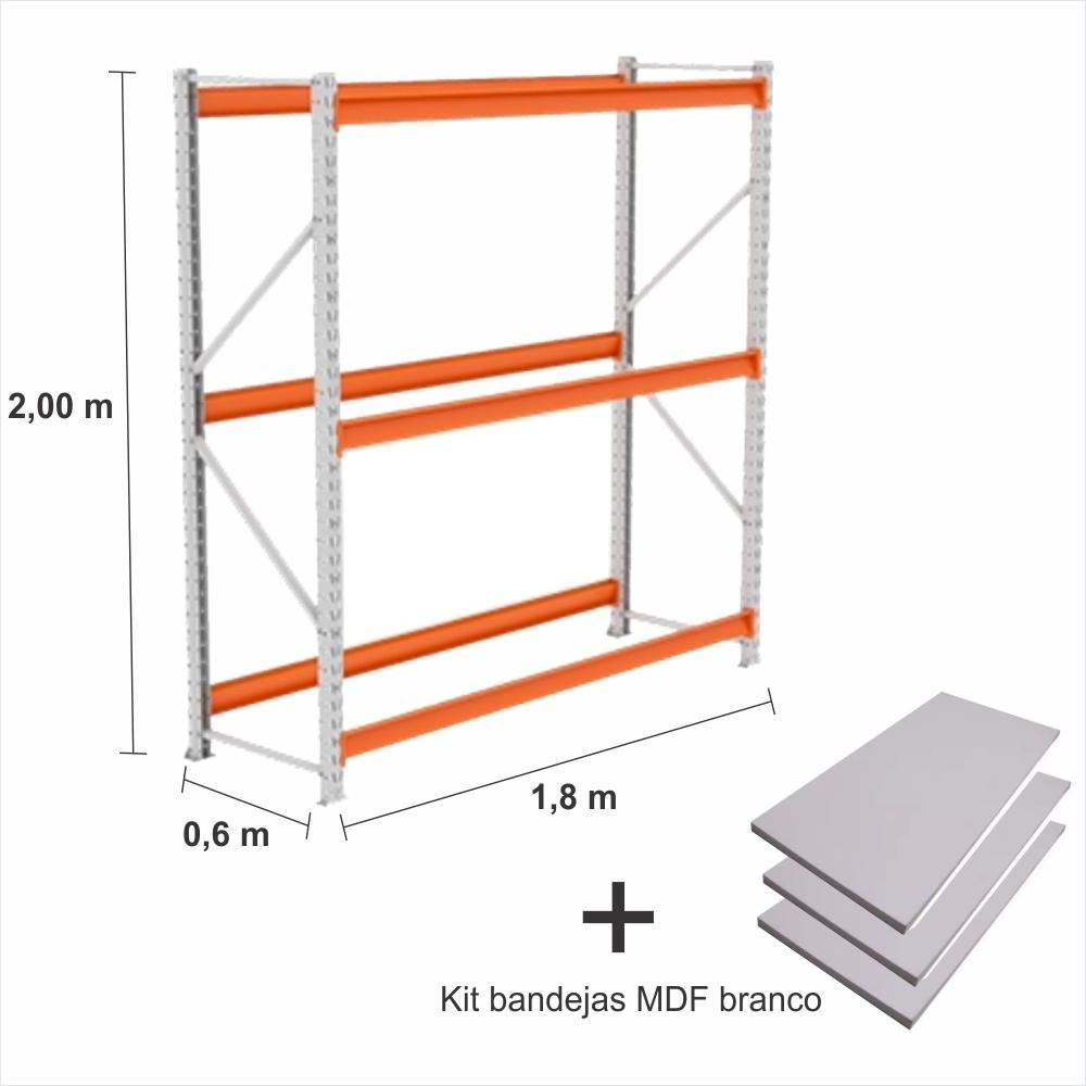 Expositor Mini Porta Pallet inic 250KG Com 3 niveis 2,00X1,80X0,60 + kit bandeja branco