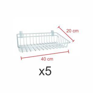 kit para expositor com 5 Cestos para painel canaletado 20x40 cm branco