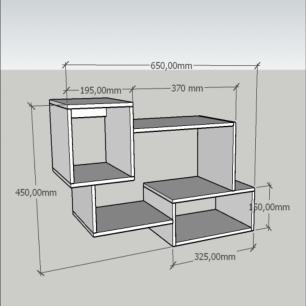 Kit de Nichos multi uso mdf Amadeirado escuro branco