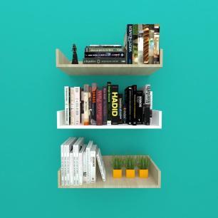 Estante de Livros em mdf Amadeirado claro com branco