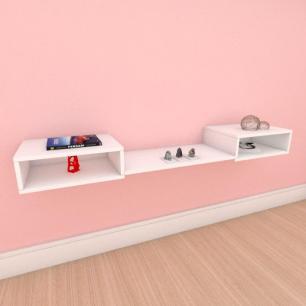 Rack minimalista moderno com prateleira em mdf branco