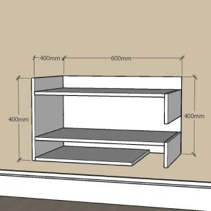 Mesa de Cabeceira simples com nichos prateleiras em mdf Cinza