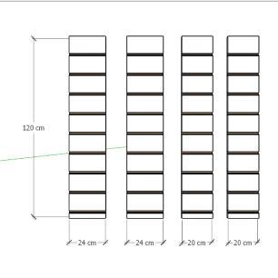 Kit 4 Painel canaletado para pilar preto 2 peças 24(L)x120(A)cm + 2 peças 20(L)x120(A)cm