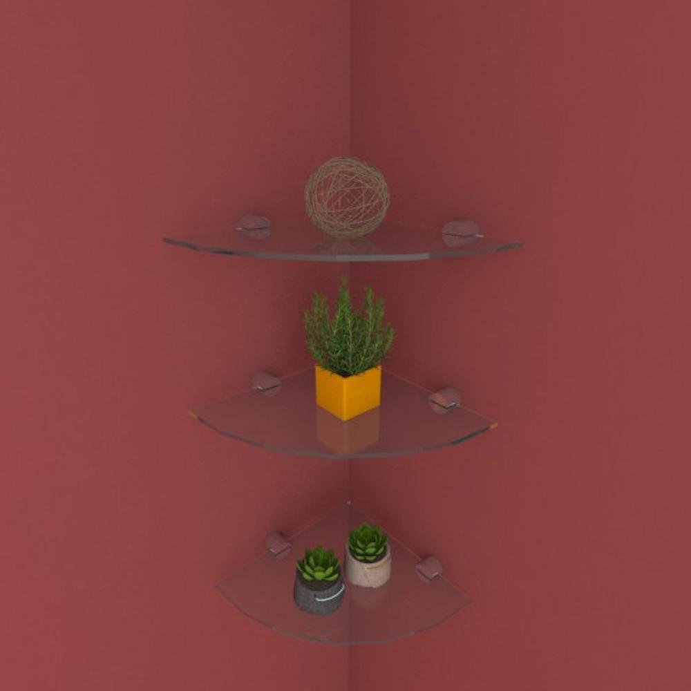 Kit com tres Prateleira para escritório de canto 20 cm vidro temperado