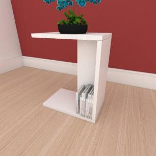 Mesa Lateral compacta em mdf branco