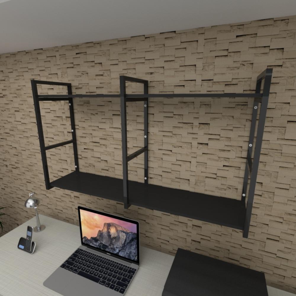 Prateleira industrial para escritório aço cor preto prateleiras 30 cm cor preto modelo ind13pes