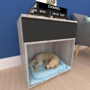 caminha criado cachorro cão gaveta mdf Rustico preto