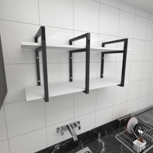 Prateleira industrial para cozinha aço cor preto prateleiras 30 cm cor branca modelo ind20bc