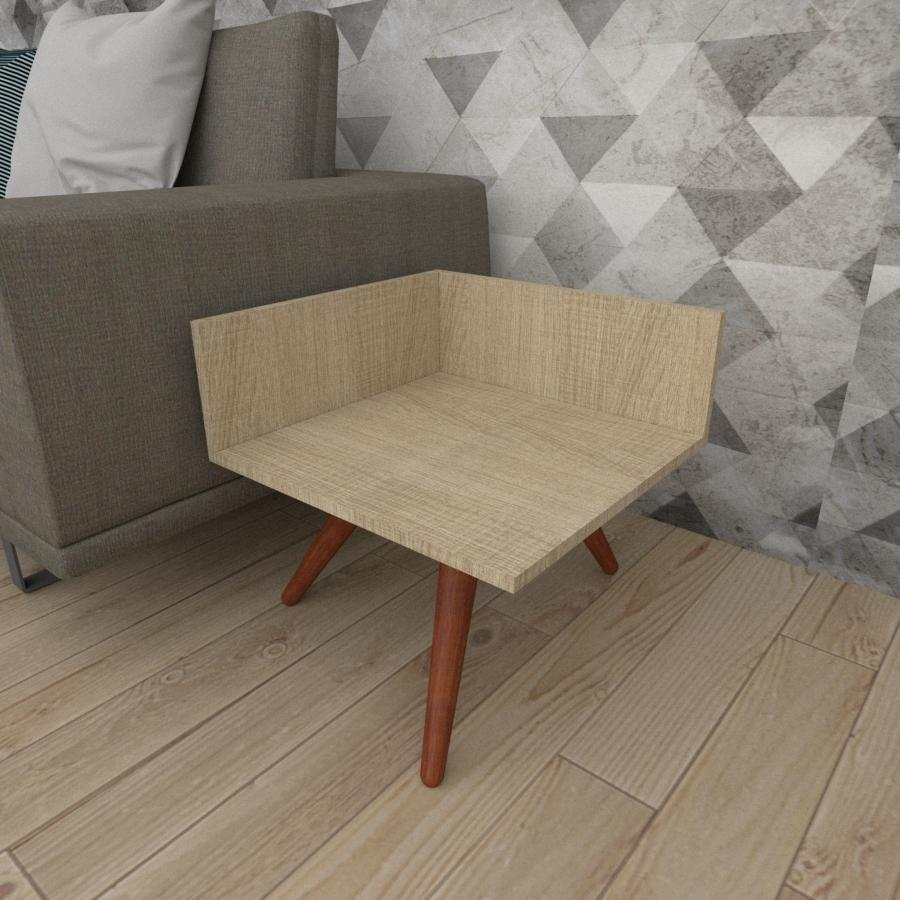 Mesa lateral simples em mdf amadeirado claro com 3 pés inclinados em madeira maciça cor mogno