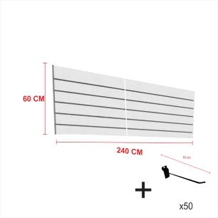 Expositor canaletado cinza alt 60 cm comp 240 cm mais 50 ganchos 10 cm
