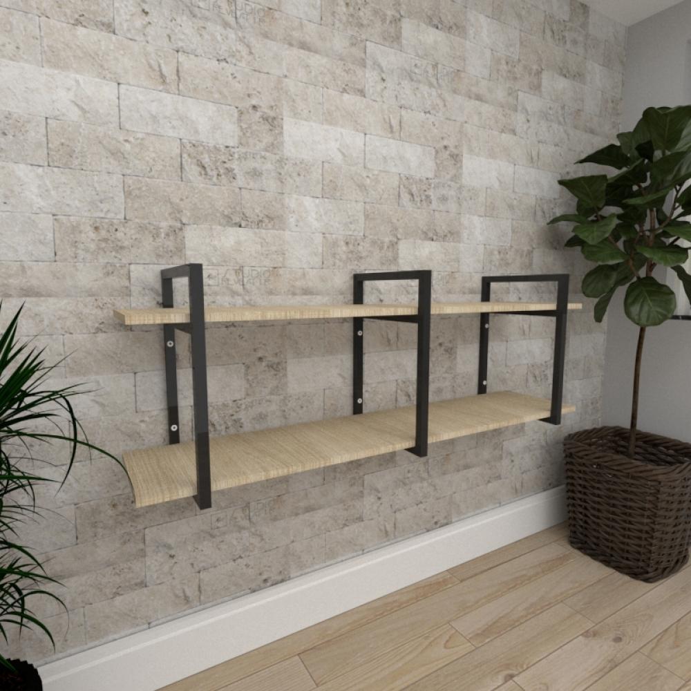Mini estante industrial para escritório aço cor preto mdf 30cm cor amadeirado claro modelo ind05acep