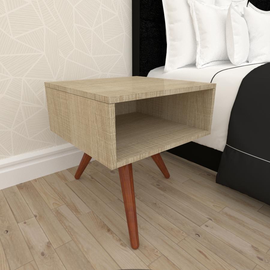 Mesa de Cabeceira em mdf amadeirado claro com 3 pés inclinados em madeira maciça cor mogno
