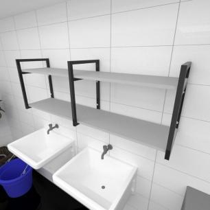 Prateleira industrial para lavanderia aço cor preto prateleiras 30 cm cor cinza modelo ind04clav