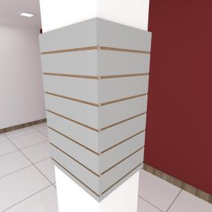 Kit 4 Painel canaletado para pilar cinza cristal 2 peças 54(L)x90(A) cm + 2 peças 40(L)x90(A) cm