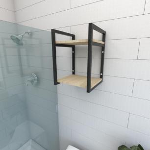 Prateleira industrial banheiro aço cor preto prateleiras 30cm cor amadeirado claro mod ind24acb