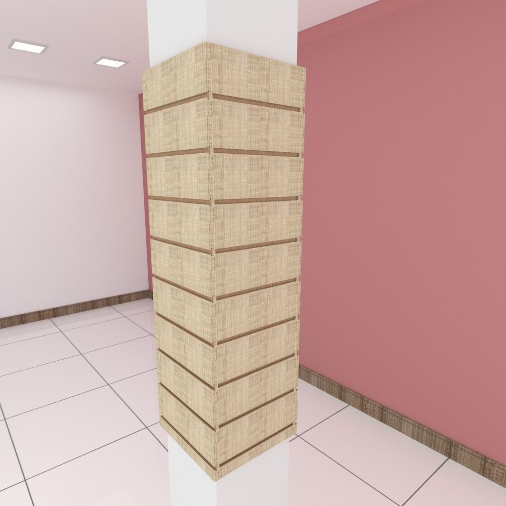 Kit 4 Painel canaletado para pilar amadeirado claro 2 peças 34(L)x120(A)cm + 2 peças 30(L)x120(A)cm