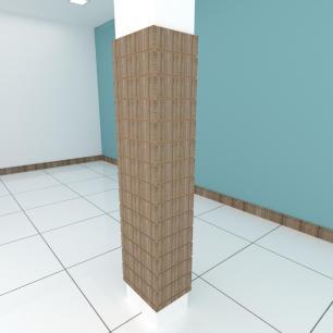 Kit 4 Painel canaletado pilar amadeirado escuro 2 peças 44(L)x180(A) cm + 2 peças 30(L)x180(A) cm