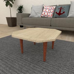 Mesa de Centro octagonal em mdf amadeirado claro com 4 pés retos em madeira maciça cor mogno