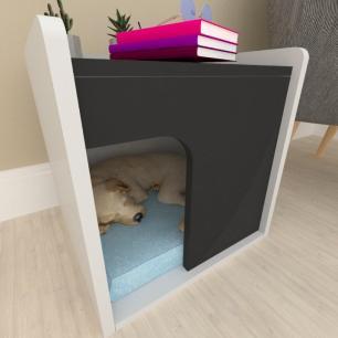 Casinha criado mudo para cachorro mdf cinza com preto