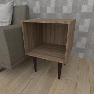 Mesa lateral moderna em mdf amadeirado escuro com 4 pés retos em madeira maciça cor tabaco