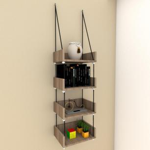 Quatro nicho prateleiras moderna com cordas, mdf Amadeirado escuro