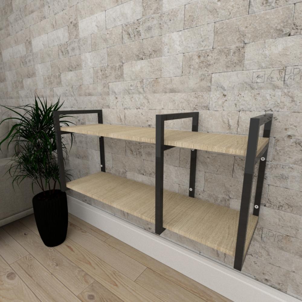 Mini estante industrial para sala aço cor preto mdf 30 cm cor amadeirado claro modelo ind21aceps