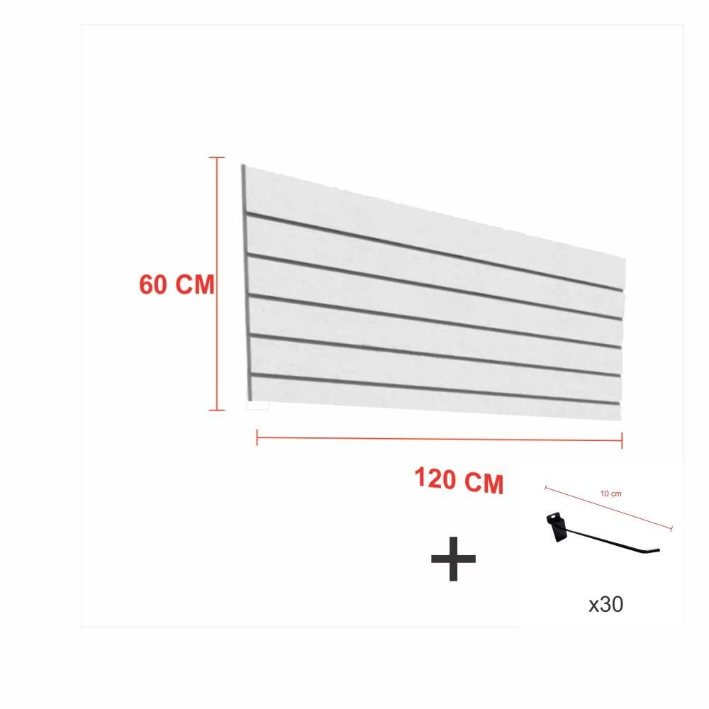 Kit Painel canaletado cinza alt 60 cm comp 120 cm mais 30 ganchos 10 cm