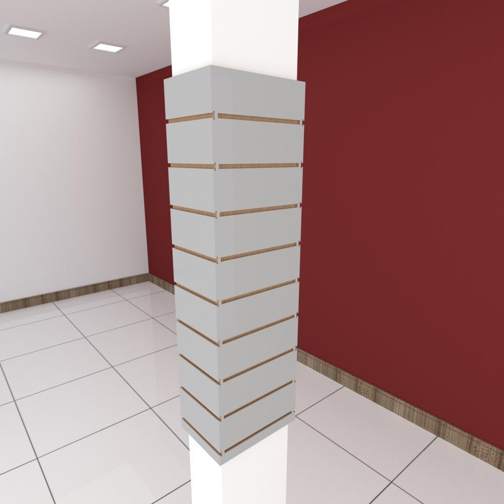 Kit 4 Painel canaletado para pilar cinza cristal 2 peças 24(L)x120(A)cm + 2 peças 30(L)x120(A)cm
