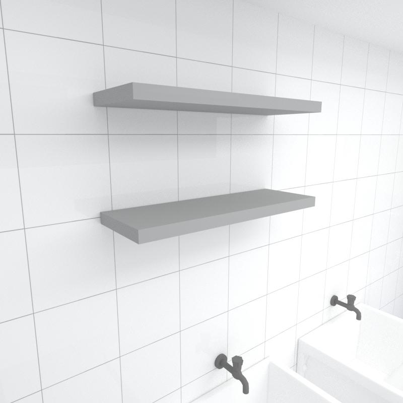 Kit 2 prateleiras para lavanderia em MDF suporte Inivisivel cinza 60x20cm modelo pratlvc29
