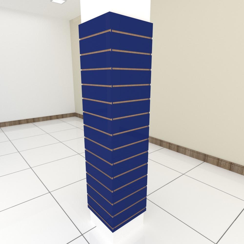 Kit 4 Painel canaletado para pilar azul escuro 2 peças 44(L)x180(A)cm + 2 peças 40(L)x180(A)cm