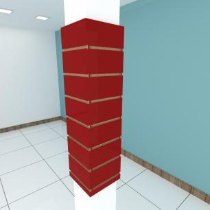 Kit 4 Painel canaletado para pilar vermelho escuro 2 peças 24(L)x90(A)cm + 2 peças 20(L)x90(A)cm