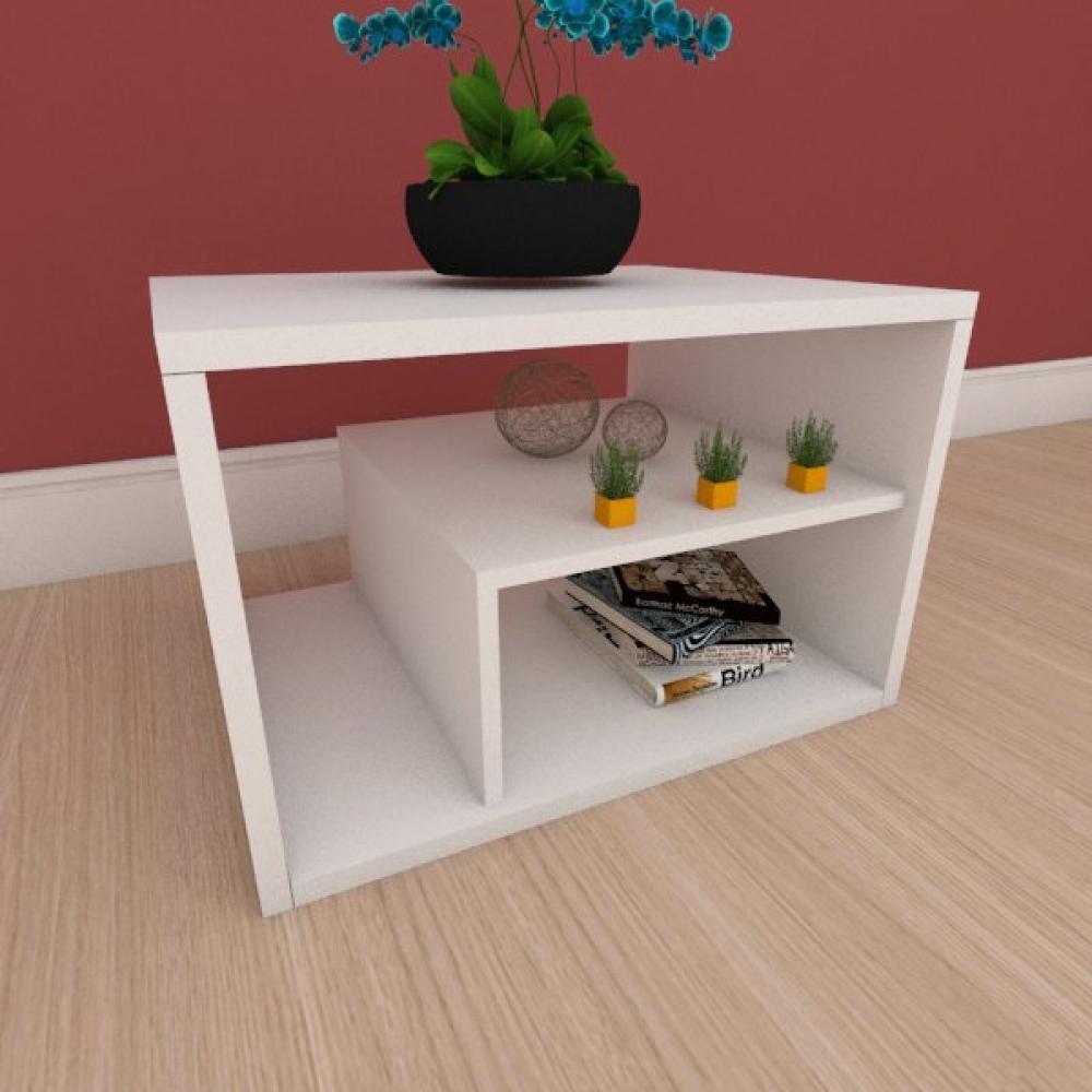 Mesa Lateral slim com prateleiras em mdf branco