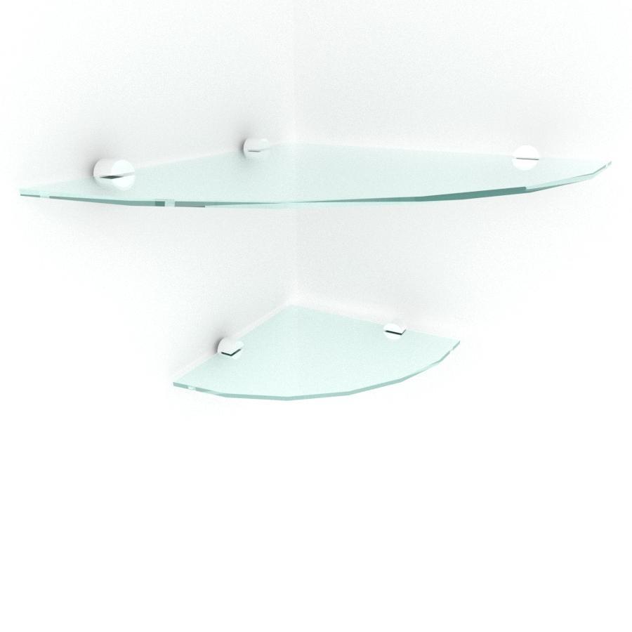 kit com 2 Prateleira para canto de vidro temperado para escritorio 1 de 30 cm e 1 de 20 cm