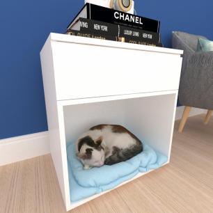caminha criado gato gaveta mdf Branco