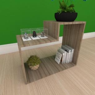 Kit com 2 Mesa de cabeceira moderna simples com nichos em mdf amadeirado