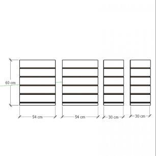 Kit 4 Painel canaletado para pilar preto 2 peças 54(L)x60(A)cm + 2 peças 30(L)x60(A)cm