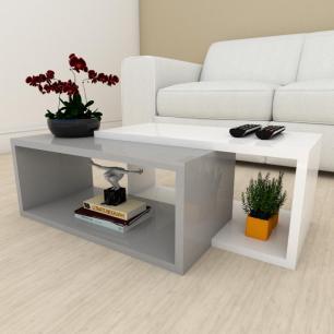 Mesa de centro moderna cinza com branco
