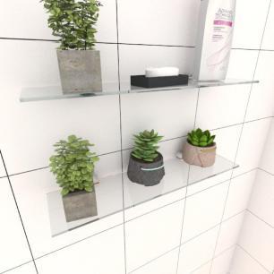 Kit com duas Prateleira para banheiro 40 cm vidro temperado