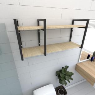 Prateleira industrial banheiro aço cor preto prateleiras 30cm cor amadeirado claro mod ind21acb