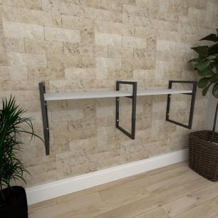 Mini estante industrial para escritório aço cor preto prateleiras 30cm cor cinza modelo ind06cep