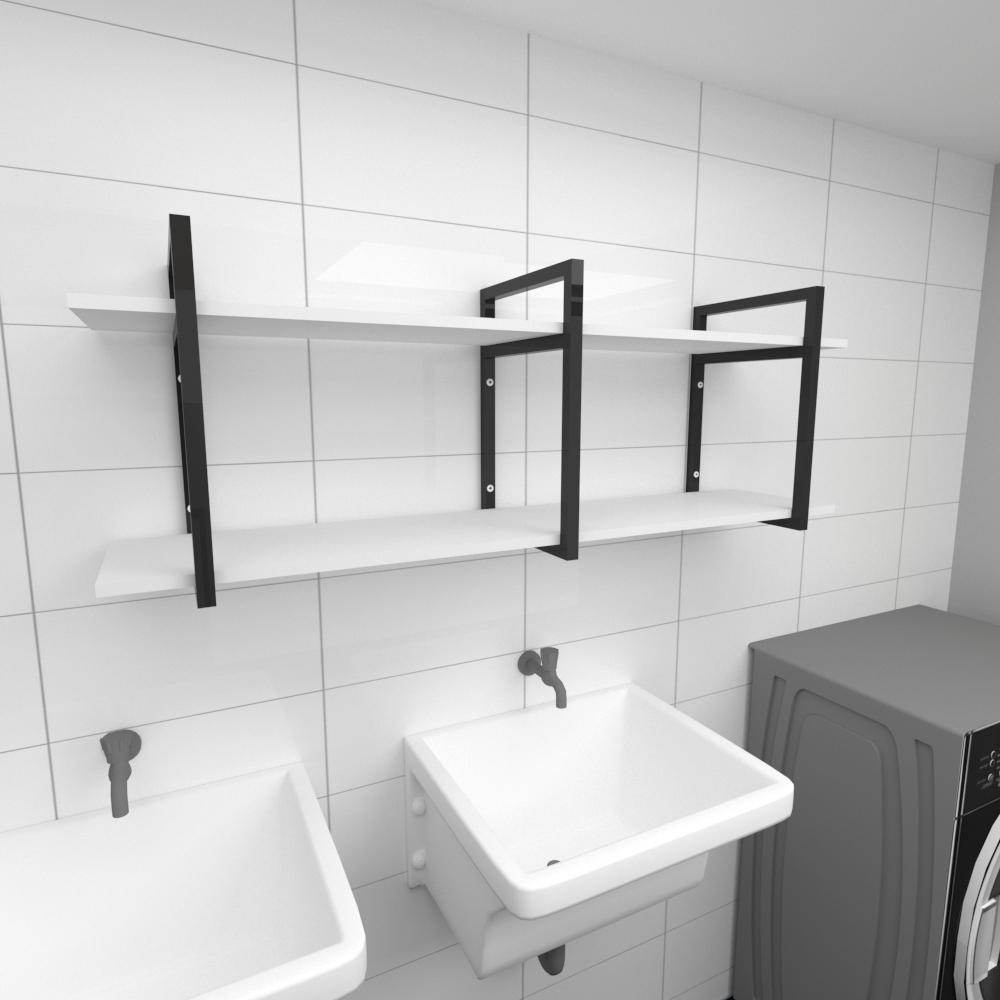 Prateleira industrial para lavanderia aço cor preto prateleiras 30cm cor branca modelo ind05blav