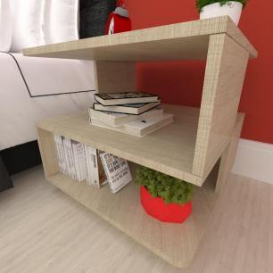 Mesa de centro, nichos Design, em mdf Amadeirado claro