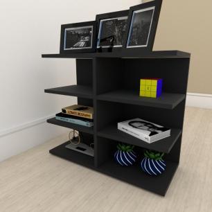 Estante escritório moderna com nicho em mdf Preto